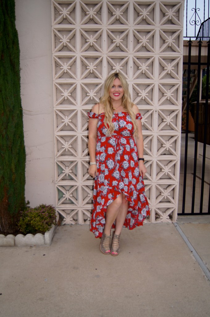 Hi Lo Red Floral Dress, preggo blogger, san diego blogger, shein, ootd, jeffrey campbell, shopbop, fashion blogger, style blogger, body positivity, honor your curves, little red dress