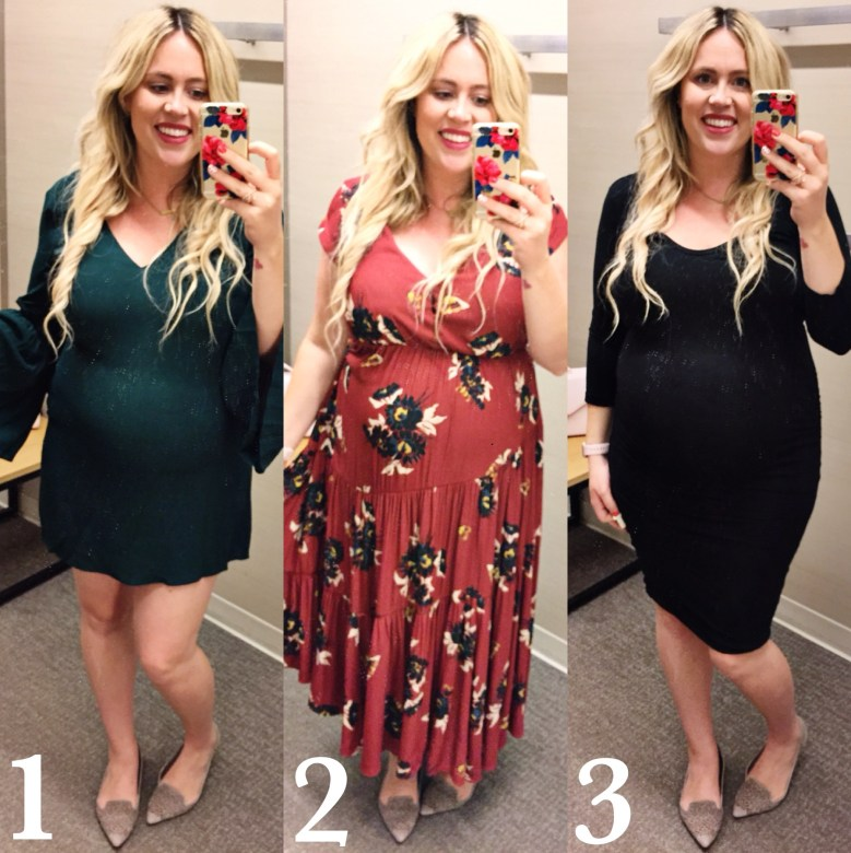 Dressing Room Dilemma: The Perfect Deep Hue Fall Dress 2017, bell sleeve dress, ruched dress, rucking, free people, 1 state, james perse, nordstrom dresses, nordstrom, preggo, preggo blogger, pregnant blogger, maternity blogger, san diego blogger