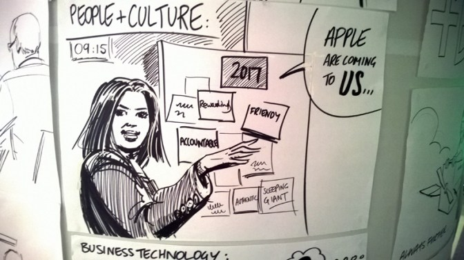 Drawing of a speaker at Dubai Airport's NX event.