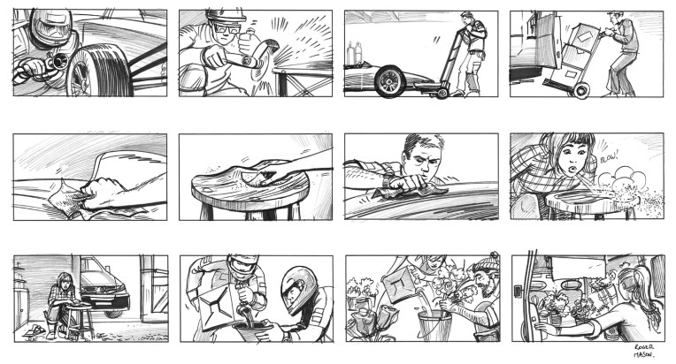 Storyboards showing tradespeople working and a Formula 1 pitstop