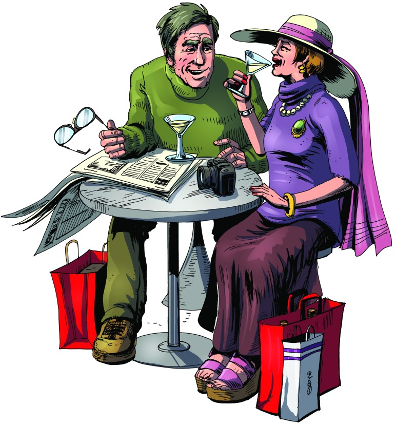 An elderly couple enjoy a cocktail in an airport waiting lounge. Illustration.
