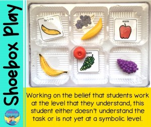 A student with no matching skills for labels is not likely to be ready to learn the core word 'eat.'