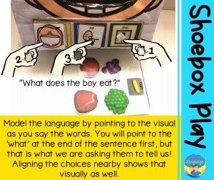 Model the language by pointing to the visual as you say the words. You will point to the 'what' at the end of the sentence first, but that is what we are asking them to tell us! Aligning the choices nearby shows that visually as well.