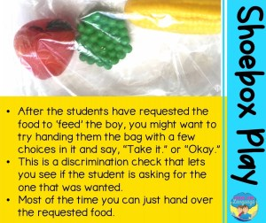 "After the students have requested the food to 'feed' the boy, you might want to try handing them the bag with a few choices in it and say, ""Take it."" or ""Okay."" This is a discrimination check that lets you see if the student is asking for the one that was wanted. Most of the time you can just hand over the requested food."