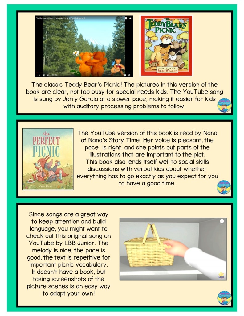 picnic theme online free resources, speech therapy