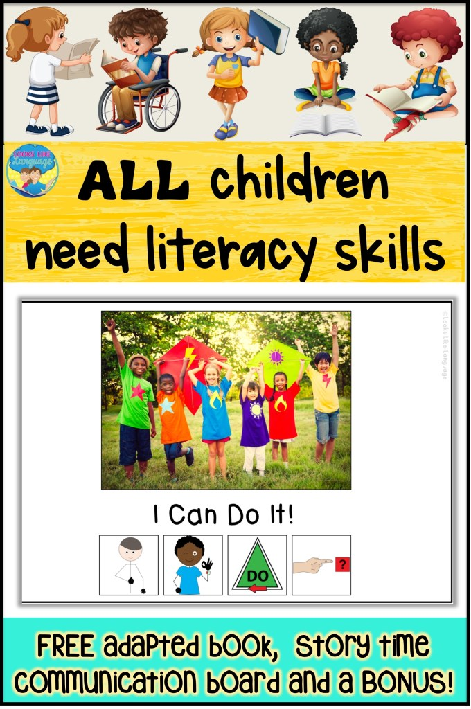 literacy skills, autism, adapted books, speech therapy, special education, free download