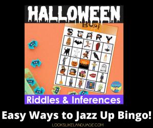 picture of a Halloween bingo board