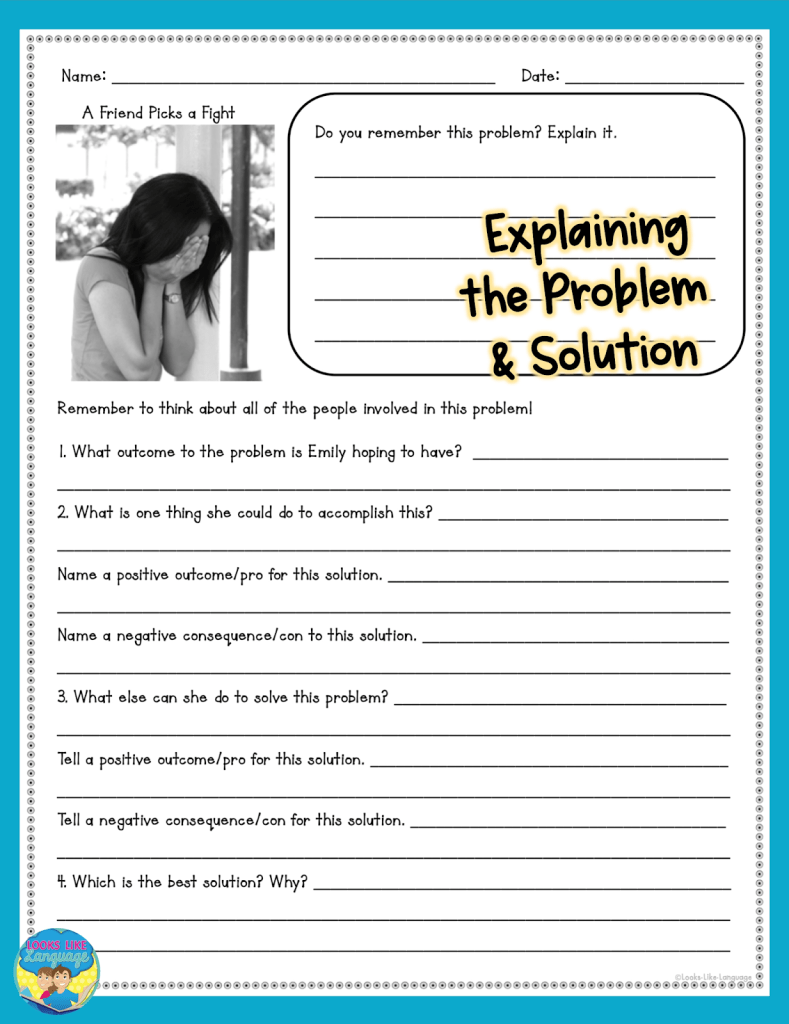 teen problem solving, social skills, free download, speech therapy