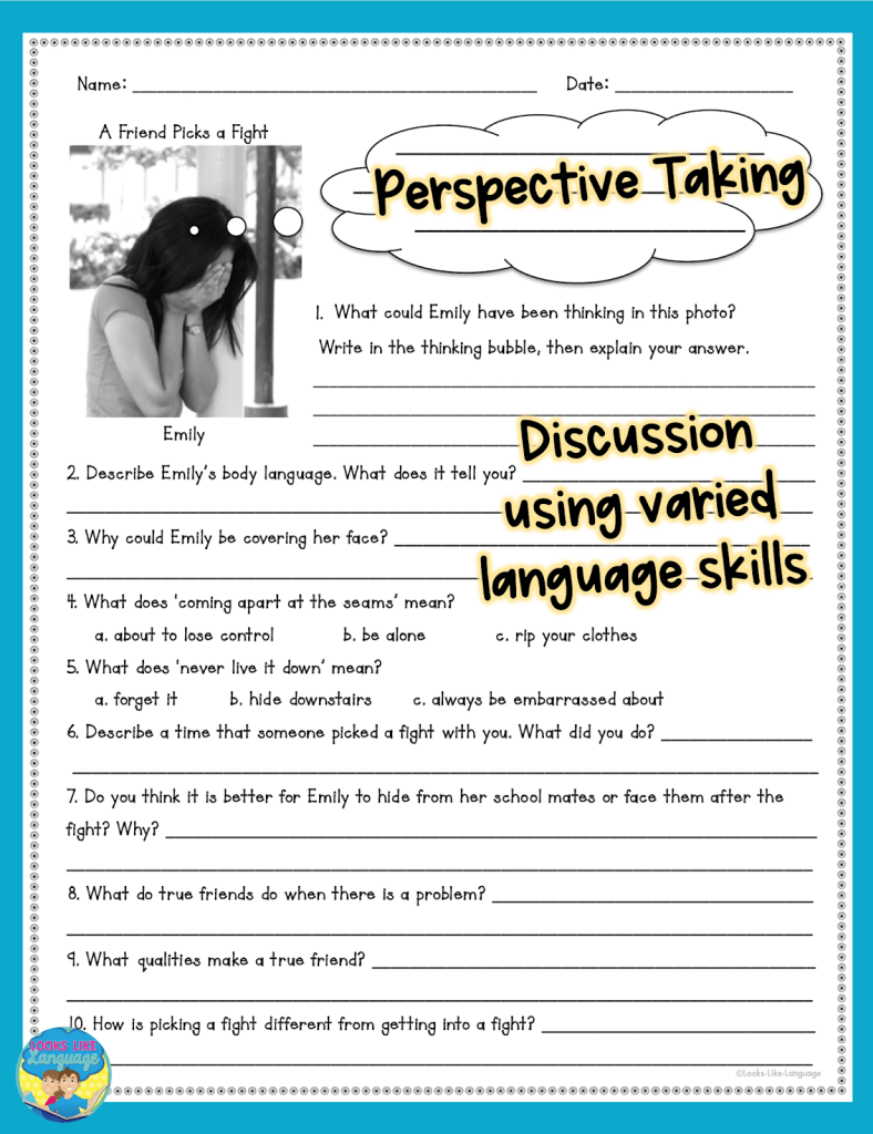 perspective taking, social skills, teens, speech therapy