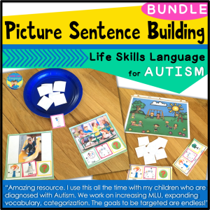 picture sentence building, file folder activities, adapted books, autism , speech therapy