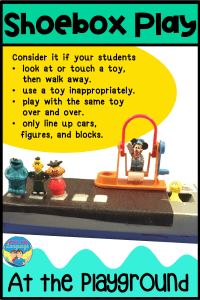 Tips for using shoebox play has a picture of using Sesame Street figures with a toy jumprope. Consider using shoebox play in speech therapy sessions if your students look at or touch a toy and walk away, use a toy inappropriately, play with the same toy over and over again, or only line items up.