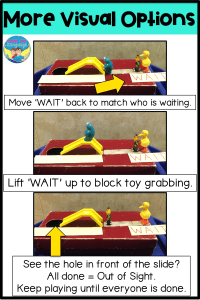 Ideas for how to teach other visuals, like 'wait' during shoebox play speech therapy sessions for students with autism.