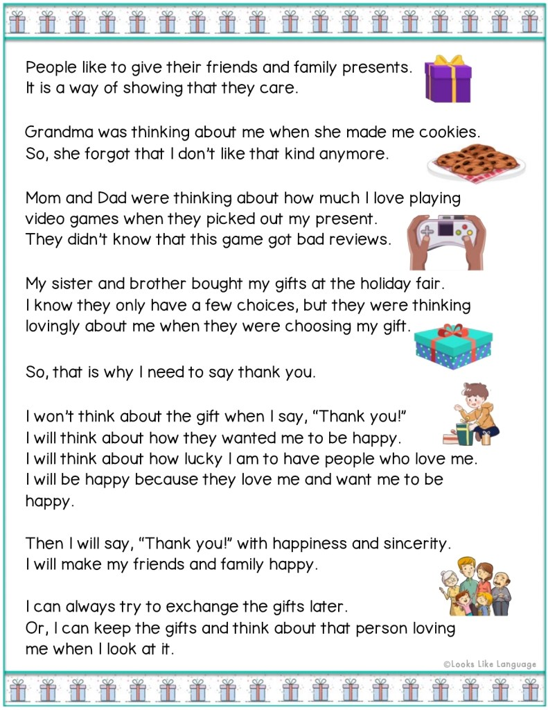 autism, social rules story, politeness, speech therapy