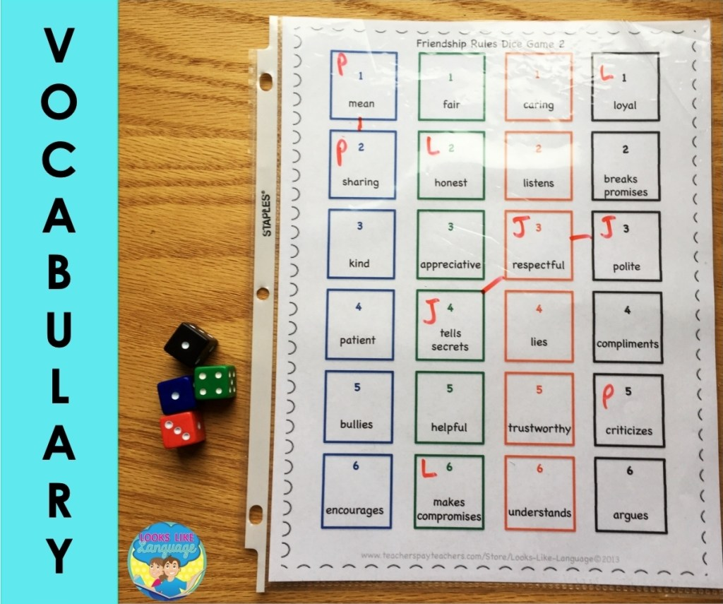 dice speech therapy activities