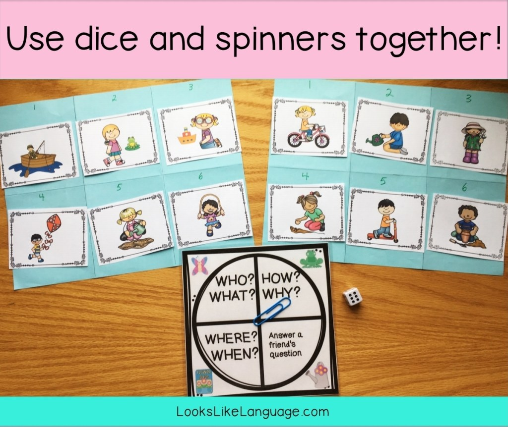 spinner activities, dice fun, speech-language therapy