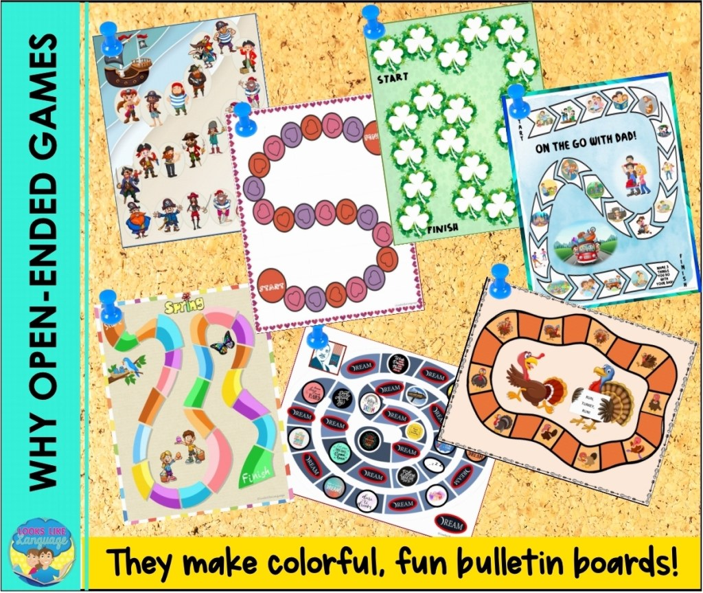 open ended games, speech therapy, free printables