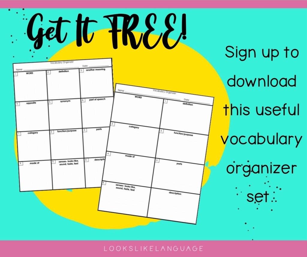 2 free vocabulary organizers