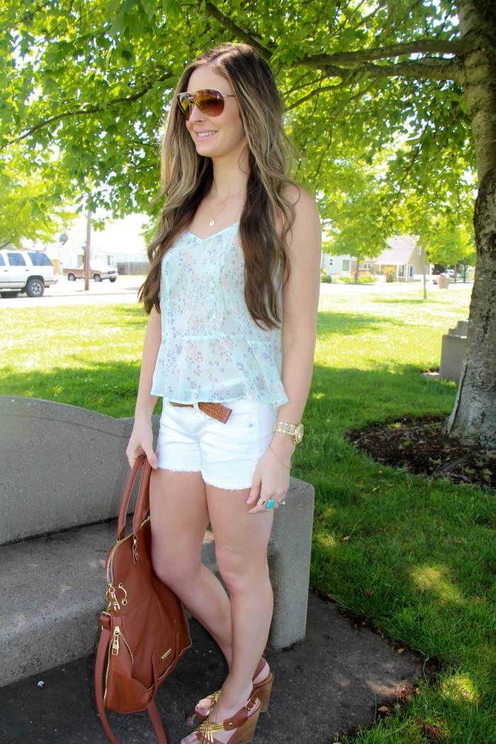 Sheer Crop top and white shorts