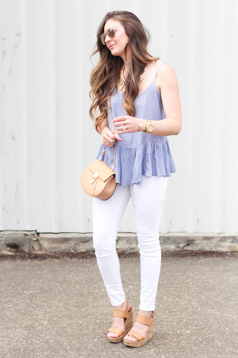 GINGHAM PEPLUM TOP