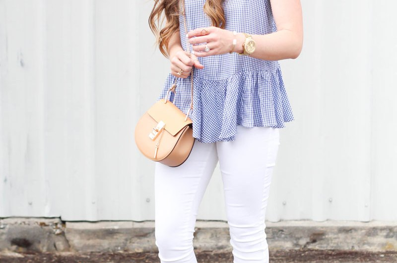 Peplum Gingham Top