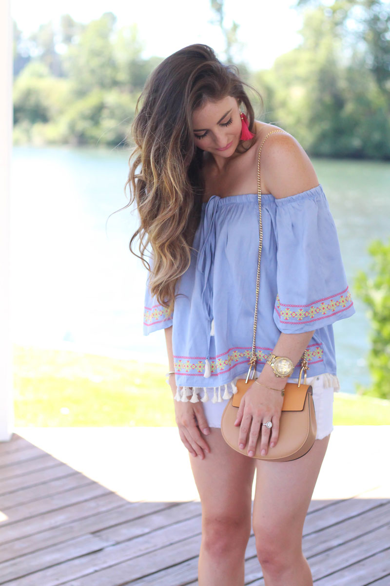 shop juliana's tassel off shoulder top
