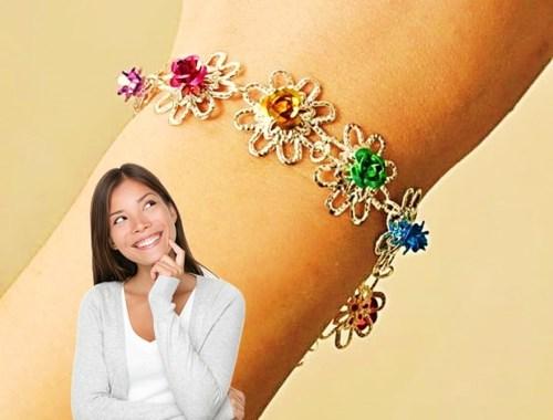 pulsera brazalete manilla cristal colores metal