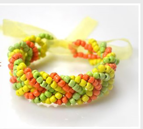pulseras mostacillas colores bracelets beads amarillo yellow green verde orange naranja