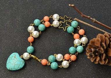 jewelry bisuteria pulseras turquesa bracelets beads alambre wire azul