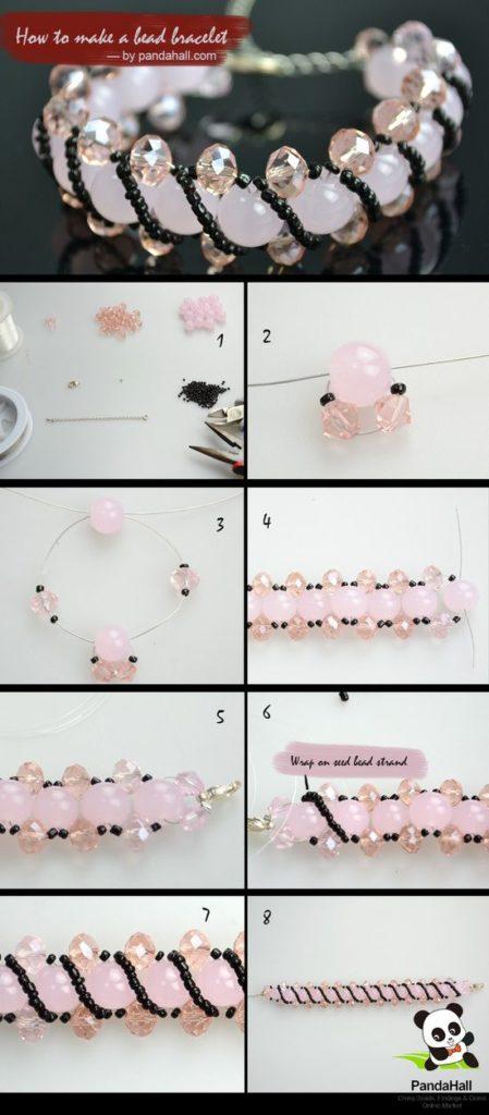 tutorial jewelry bisuteria pulseras bracelets bead mostacillas cristales rosado pink como hacer how to make
