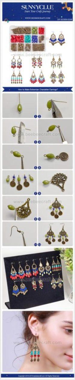 aretes zarcillos bohemio boho jewelry handmade bisuteria paso a paso gratis