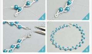 collares mostacillas perlas azul blanco necklaces handmade tutoriale como hacer how to make jewelry bisuteria DIY