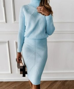 Two-Pieces Set Women Tracksuit Sweater + Slim Skirt Women's Fashion View All Women's Clothing Dresses