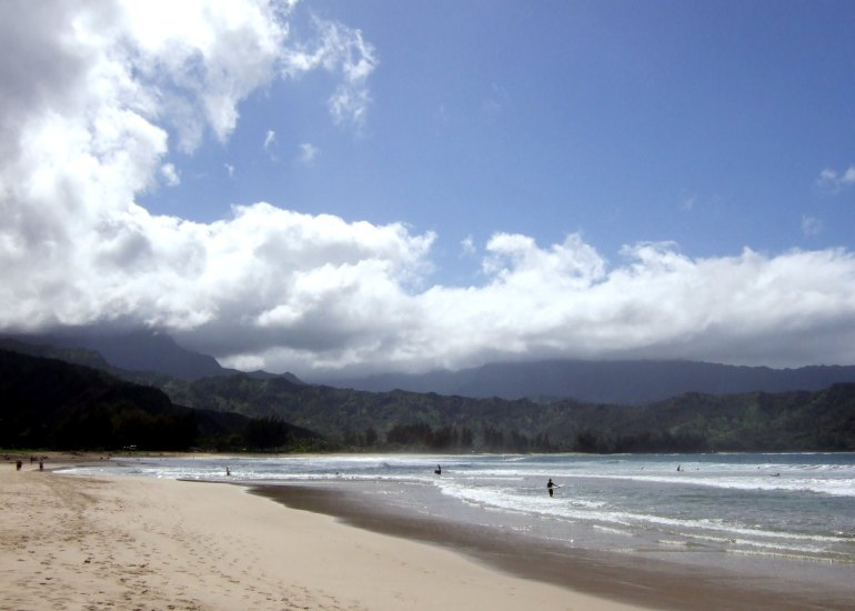 On the North Coast of Kauai Hawaii lies the village of Hanalei.