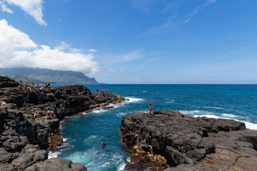 Queen's Bath is a sinkhole located at Princeville and is one of the top attractions of Kauai in Hawaii.
