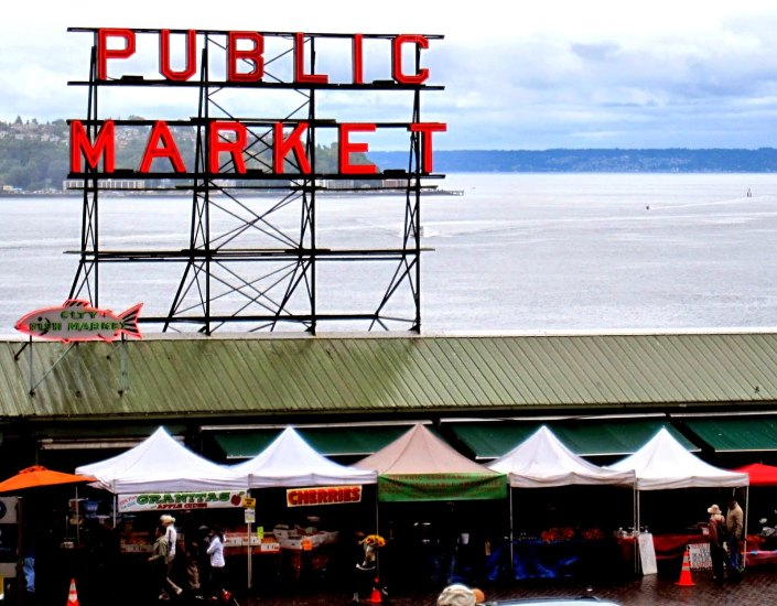 A public market is one of the most famous farmers' markets in Seattle, Washington.