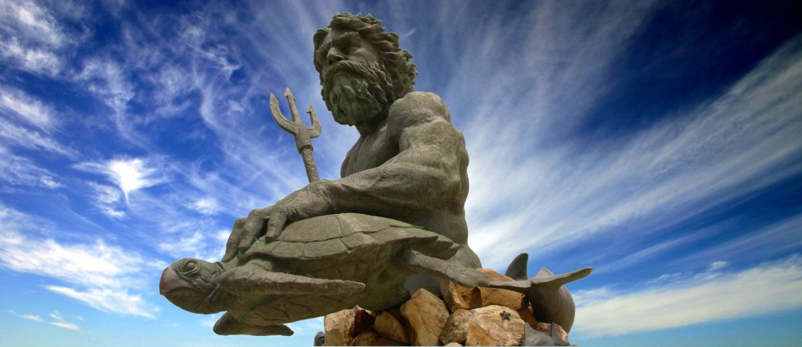 King Neptune is a large bronze statue in Virginia Beach