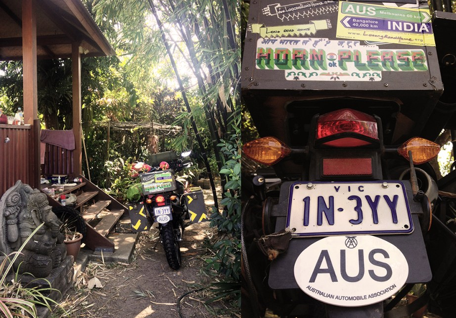 AUS Number Plate, Dressed up. New Sticker, New tyres, new skin, offerings to Ganesh, all ready to go
