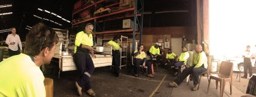 Big pot curry, camp oven, Workshop, back of utility....20 men in high viz..Lucky, it was good morning after!