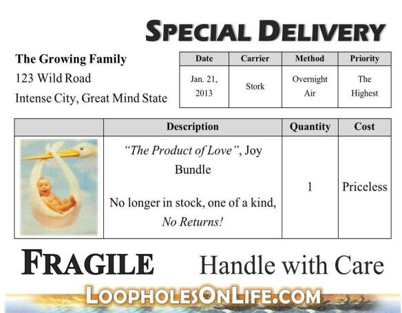 message for new parents; newborn special delivery; handle with care quote!