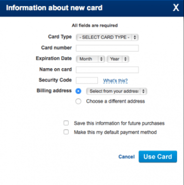Add your card info, DO NOT save info for later purchases.