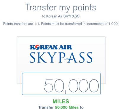 1:1 transfer ratio