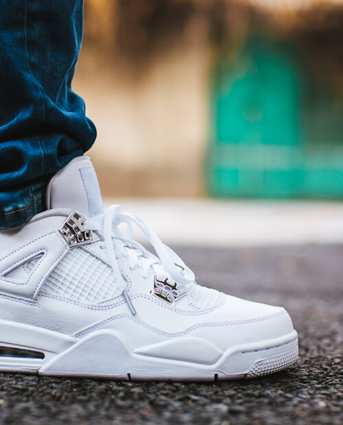 Jordan 4 all white with silver