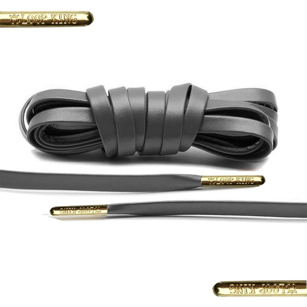 Dark Grey Luxury Leather Shoelaces with Gold Tips