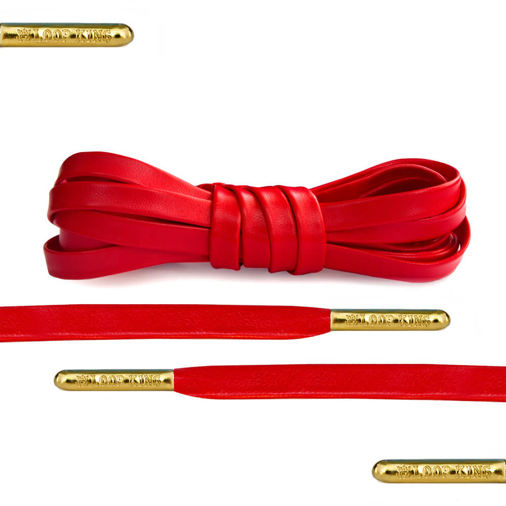 9ac9ebc11b269d Luxury Red Leather Shoe Laces with Gold Tips - From Loop King