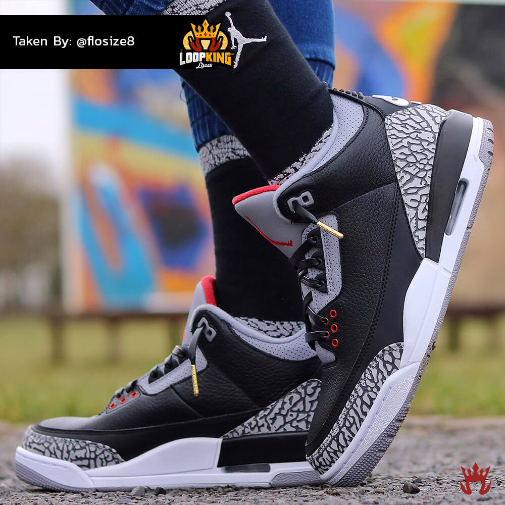 black leather shoelaces on jordan cements 3