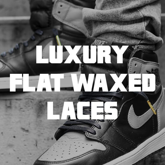 flat waxed shoelaces with gold tips banner
