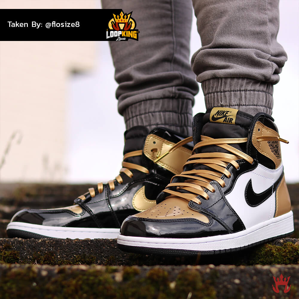 Loop King Laces Gold Leather Shoelaces on Gold Toe Jordans 3