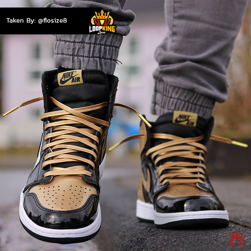 393b07085f48 Loop King Laces Gold Leather Shoelaces on Gold Toe Jordans