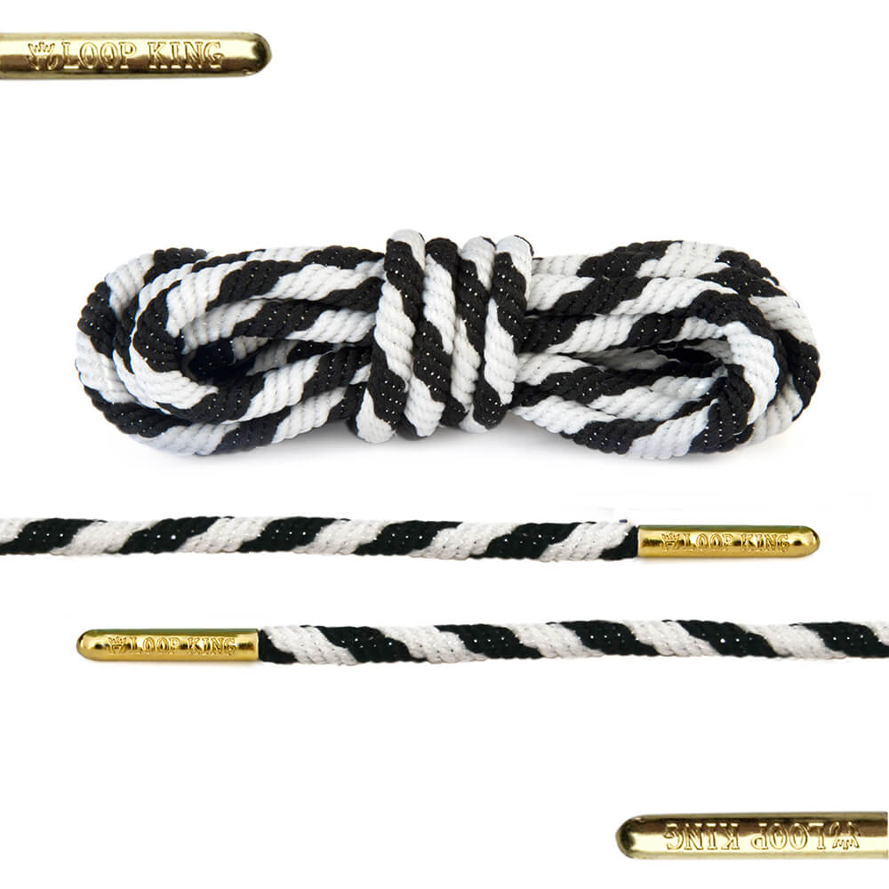 rope black white stripe shoe laces with gold tips