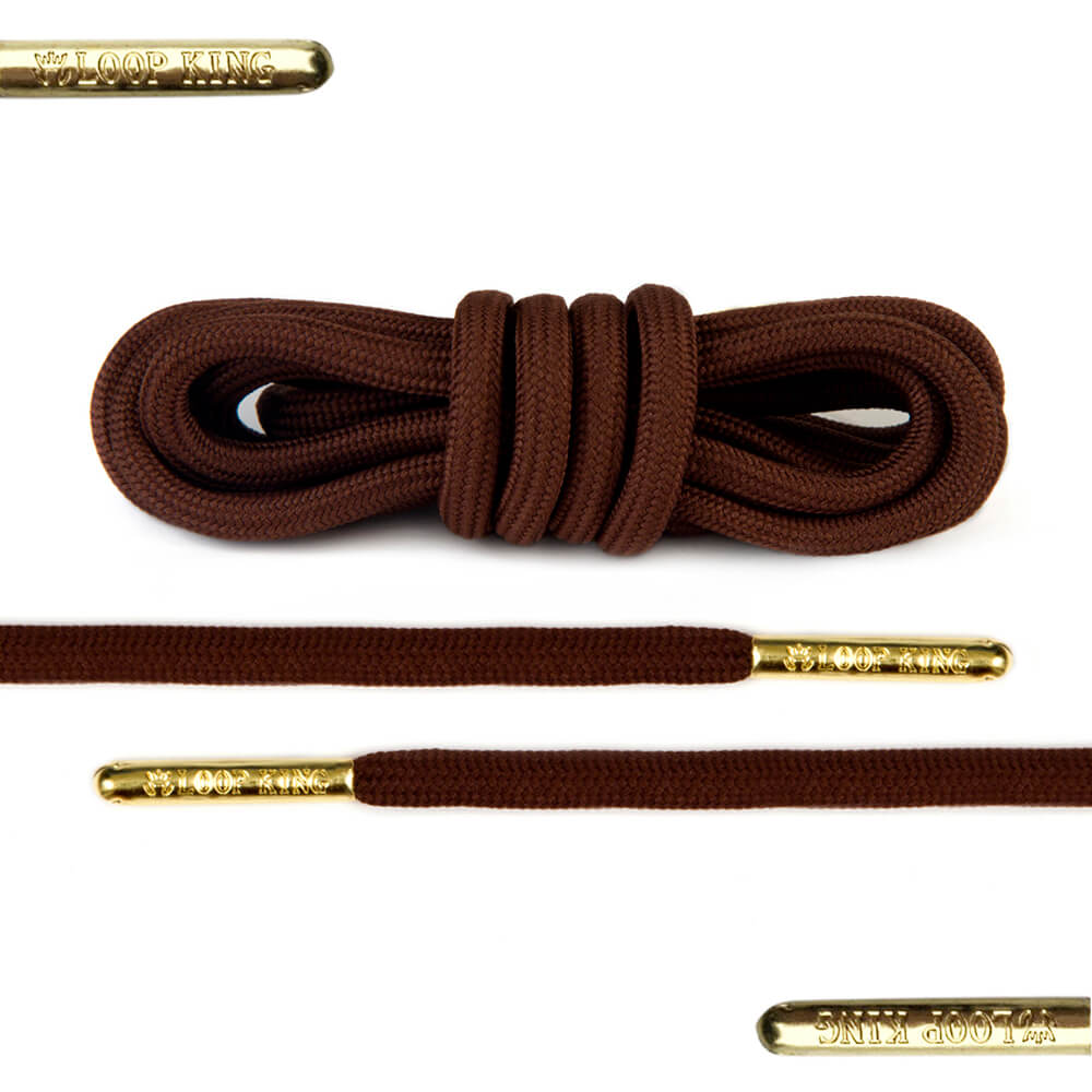 rope dark brown shoe laces with gold tips
